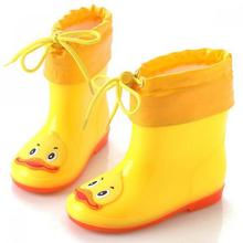 Waterproof Rainboots Kids Shoes For Girls Detachable Winter Warm Boys Shoes Casual Baby Add Cotton Boots Flat Children Footwear