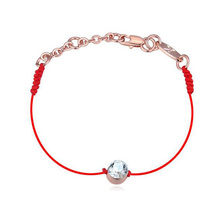 Simple Design Bangle Red Rope String Rose or Sliver Stainless Steel Pave Clear Crystal Bracelet for Fashion Girls