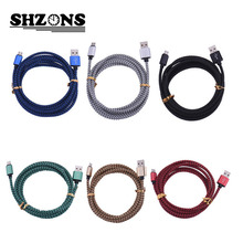 Micro USB Cable V8 Metal Braided nylon Mobile Phone Charging Cord 2.0 Data sync Charger Cable Samsung galaxy Android Phones