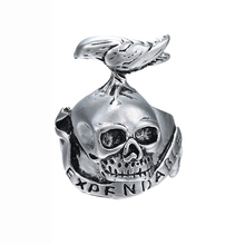New Vintage Fashion Jewelry Squads Skull Tattoo Crow Steel Men's Ring  Anillos Rings Jewelry 1 pc