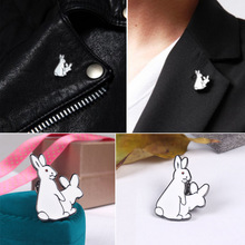 1Pc Cute Two White Rabbits Evil Badge Corsage Collar Metal Brooch Pins Fashion Jewelry gift For Christmas  #91033