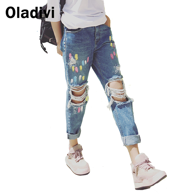 5XL Plus Size Women Clothing 2017 Summer Style Tie Dye Print Jeans Fashion Female Hole Ripped Casual Full Length Denim Pants XLОдежда и ак�е��уары<br><br><br>Aliexpress