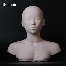 New Closed Eyes Mannequin Head With Shoulder Acupoint Acupuncture Massage Makeup Eyelash Extension Practice Model Head(China)