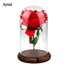Aytai 10pcs Party Holiday DIY Decorations Clear Glass Display Dome with Wooden Base Flower Photo Display Party Favors