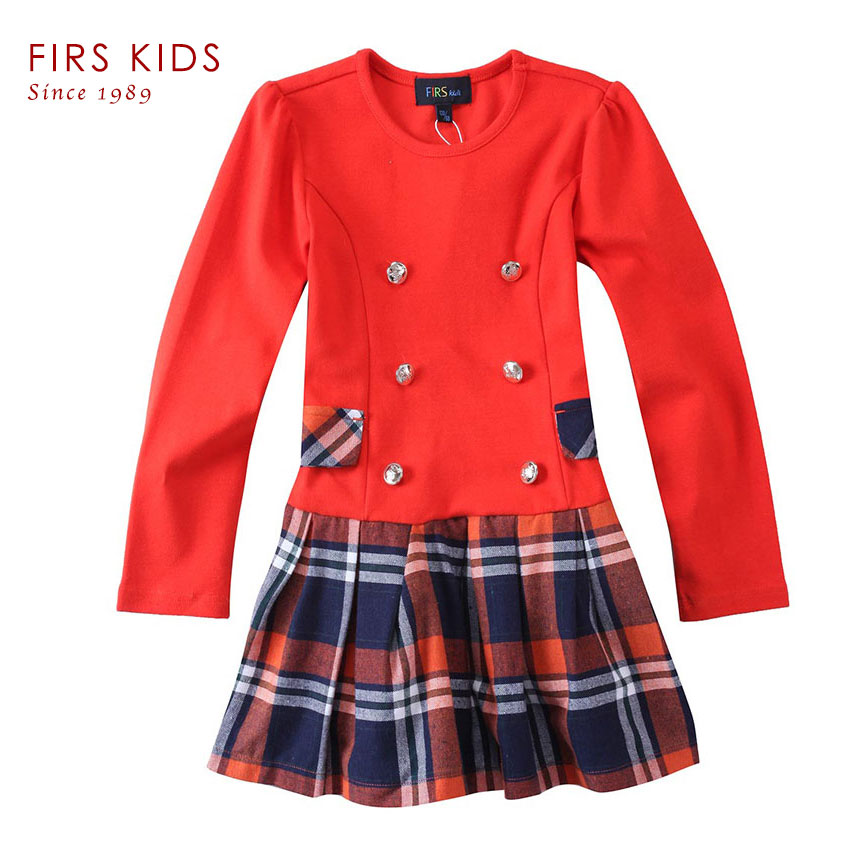 Hot selling Kids dresses for girls!2016 New Spring Children girl dress Long sleeved T-shirt British style dresses kids clothes<br>