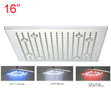Retail - 16 Inch Stainless Steel Led Square Shower Head Light, Color Changed without Battery,Free Shipping X15381