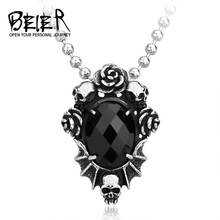 2017 Fashion Men' Jewelry Wholesale Steel Skull Flower Necklace Pendant With Black Stone BP8-123(China)