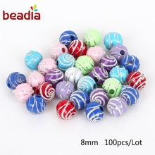 DIY Bracelet Handcraft Accessory 100pcs 8mm Screw Rhinestone Acrylic Ball Beads Fit 1.8mm Cord For Jewelry DIY Necklace Making
