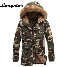 L16 Fashion Winter Jacket Men Camouflage Parkas Men Military Coats Male Thicken Cotton-padded Coats With Fur Hood Plus Size 5XL(China)