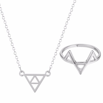 Kinitial 2pcs Nickle Free Jewelry Sets Accessories Fashion Triangle Silver Pleated Necklace Earrings Jewelry Set for Women