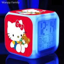 Very nice Kitty Cat Alarm Clock,Glowing LED Color Change Digital Alarm Clock For Kid Room Multifunction Alarm Clock(China)