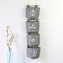 4 pcs/set Grey Wall Retro Storage box Sack Of  Groceries Wall Hanging Decoration Series Sundries Storage Bag  2016 Postcard