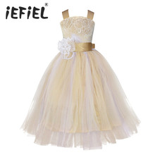 iEFiEL Kids Girls Wedding Flower Girl Dress Princess Party Pageant Formal Dress Crossed Back Sleeveless Lace Tulle Dress 2-14Y(China)