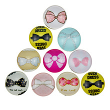 10Pcs/lot Glass Bowknot Snap Button Mixed Styles DIY 18MM Snaps Jewelry Fit Snap Bracelet&Bangle(China)