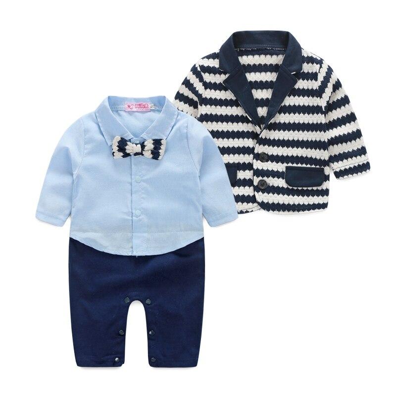 3 PCS Autumn Winter Kids Boy Clothes Cotton Striped Bowtie Jacket+Romper+Outwear Outfit Clothes Sets<br><br>Aliexpress
