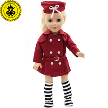 American Girl Dolls 18 Inch Doll Clothing Red Stewardess Business Attire Hat Doll Clothes Set of Doll Dress MG-064(China)