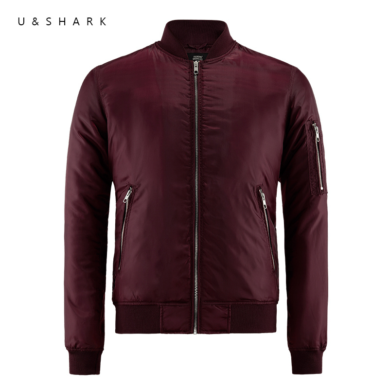 U&Shark Fashion Designer Waterproof Pilot Flight Jacket Men Jaqueta Masculina MA-1 Coat 2017 Fall Casual Red Bomber Jacket Male