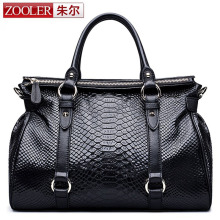 ZOOLER Genuine Leather Handbags Women's Snake Famous Brands Fashion Purse High Quality Women Messenger Big Bags Tote Boston Bag