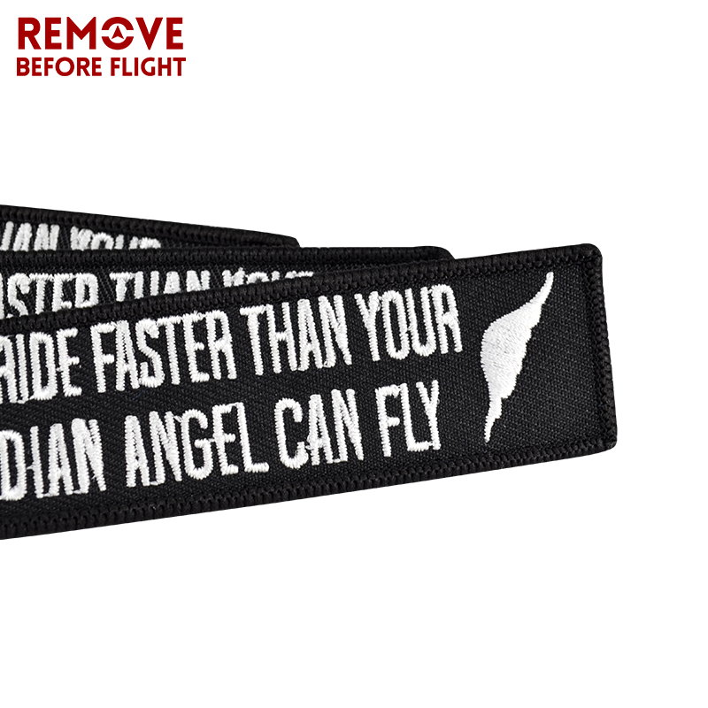 Key Chain Bijoux Keychain for Motorcycles Embroidery Key Fobs OEM Keychain Never Drive Faster Than Your Guardian Angel Can Fly (11)