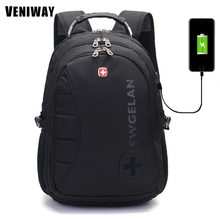 VENIWAY Large Capacity Waterproof Laptop Usb Charge Siwss Cross Gear Backpack Business Backpacks Daily Travel Bag Boys Schoolbag(China)