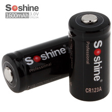 2pcs/set Original Soshine 3.0V CR123A Primary Lithium Battery 1600mAh RCR123A Battery + Portable Battery Box