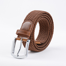 Extra Long Brown Elastic Web Belt Mens Stretch Belt Metal Buckle Woven Braid Belts for Big Men