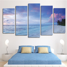 No Frame 5 Piece Modern Landscape Beach And River Home Decor Wall Canvas Picture Art Blue Sky HD Print Painting For Living Room