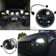 7'' INCH 36W Black Round LED Projector Headlight With High Low Beam White light for Wrangler JK Hummer Motorcycle