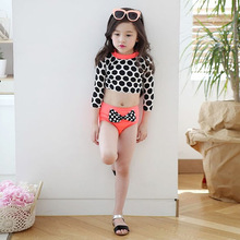 kids swimsuit 2016 cute arrival pink three pieces with hair band & high quality for children swim wear & bathing beach swimming