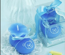 10pcs Blue Sock Shoe Candle Wedding Baby Shower Birthday Souvenirs Gifts Favor Packaged with box