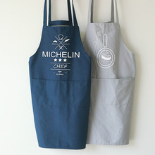 Nordic Simple Baking Master Modern Top Chief Print Blue Grey Apron Linen Cotton Kitchen Cooking Baking Love Apron Gift