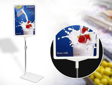 A4 white painting POP banner price label holder poster frame standing on desk table advertising billboard display stand desktop