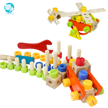 Baby tool Toys Kids Wooden Multifunctional Tool Box Wooden Toy Baby Nut Combination learning education Chirstmas/Birthday Gift(China)