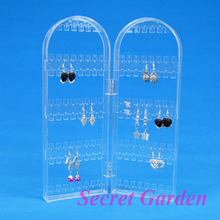 Wholesale High Quality Clear View Plastic Folding Screen Earring Display Stand Holder 120 Holes