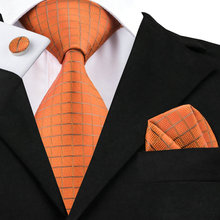 2017 Fashion Darkorange Burlywood Plaid Tie Hanky Cufflinks 100% Silk Necktie Ties For Men Formal Business Wedding Party C-464(China)