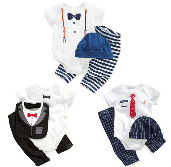 gentleman baby boy clothes infant toddler white rompers + striped pants clothing set newborn wedding suit<br><br>Aliexpress