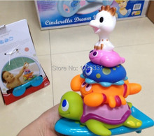 HOT baby toy baby cascading rainbow ring toys baby bath swimming  shower  stackers toys BPA free