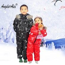 Angela&Alex Girls Coat Children Winter Duck Clothing Set 2 Piece Boys Girls Russian Winter -30 Degree Big Real Fur