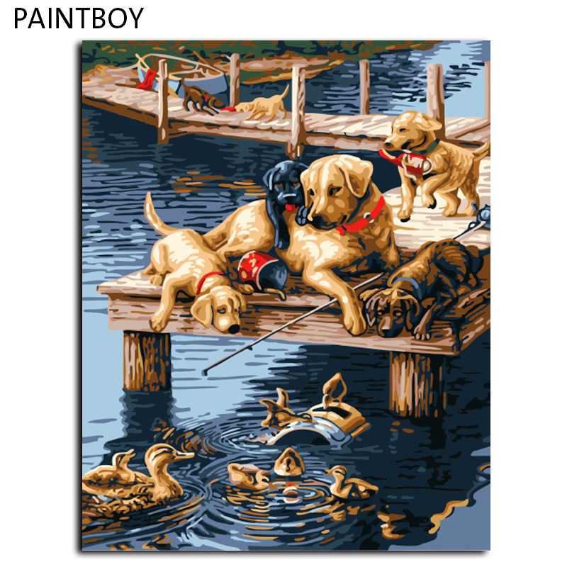 Dogs Painting Frameless Pictures Painting By Numbers DIY Digital Canvas Oil Painting Home Decor Wall Art GX7092 40*50cm(China (Mainland))