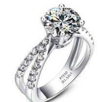 1.5CT Round Semi Mount Pure 18K White Gold Ring Diamond Au750 White Gold Female Long Finger Ring With Stones