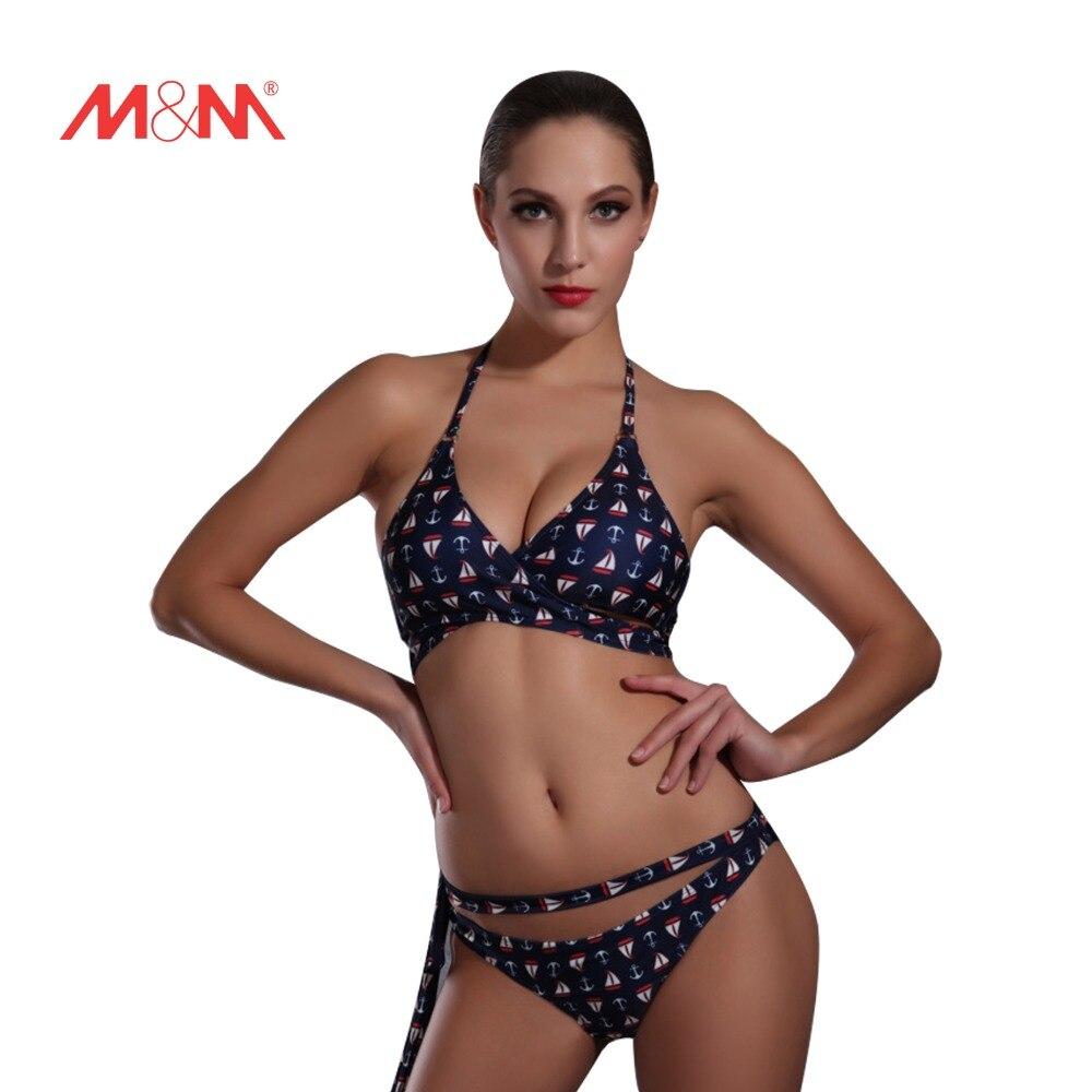 2016 Halter Ship Anchor Printed Swimsuit Sexy Bathing Suit Swimwear Bikini Set Biquini Padded Bikini Maillot De Bain SAKJ1601<br>