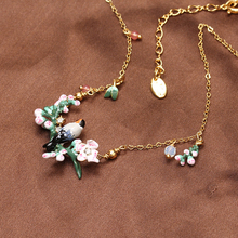 Les Nereides Simple Elegant Cherry Blossoms  Flower Bird Necklace For Women Lady Party Prom Necklace Best Gift