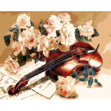 Wall pictures canvas painting drawing by numbers hand painted coloring by numbers home decor Violin & flower picture RS284(China)