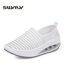 Breathable Cut-outs Women Toning Shoes Spring Summer Thick Soles Cushion Slimming Sneakers Loss Weight Slip-on Sports Shoes