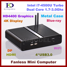 Fanless Thin Client Computer, Mini PC, Intel i7-4500U Turbo Boost 3Ghz, 4GB RAM, 128GB SSD, 4*USB 3.0, 4K, HDMI, DP Supported