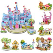 Hot Selling Fashion Puzzles Cartoon Kids Educational Mosaic Toys DIY boy girls 3D Jigsaw Puzzle For Children Adults House Castle