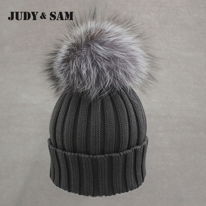 Brand New Warm Winter Collection 100% Merino Wool Gorros Beanie Detachable Genuine Silver Fox Fur Pom Poms Knitted Hats for MenОдежда и ак�е��уары<br><br><br>Aliexpress
