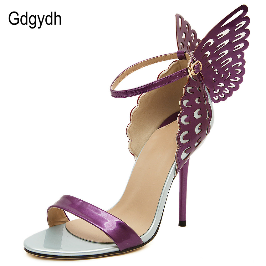 Gdgydh Fashion Women Sandals High Heel Butterfly Dream Color Block Decoration Thin Heels Summer Sandal Shoes for Party European <br><br>Aliexpress