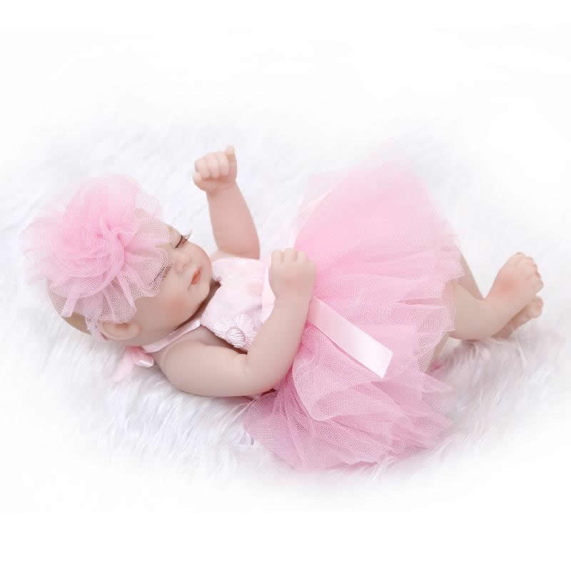 Sleeping Lovely Princess Girl Baby Doll 11 Inch Full Silicone Soft Vinyl Newborn Babies With Lovely Dress Kids Birthday Gift<br><br>Aliexpress