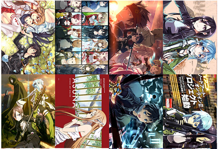 200 pcs/lot (25sets) Anime Posters Cartoon Comic Stickers Naruto LoveLive! Black Butler SAO Tokyo Ghoul 58x42CM Embossed